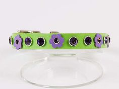 Spring Green leather dog collar with lavender leather flowers and purple velvet Swarovski Crystals! Find it on Etsy $47