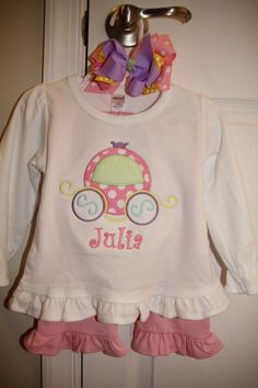 Custom Monogrammed Personalized Princess Carriage Disney vacation ruffle shirt. $23.00, via Etsy.