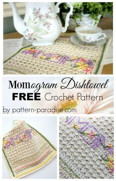 Free crochet pattern for dishtowel by Pattern-Paradise.com #crochet #patternparadisecrochet #dishtowel #freepattern #kitchen