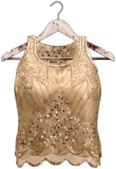 5d8af8630825 Second Life Marketplace - Tres Blah Sequined Top - Gold Electro Swing