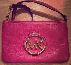 Michael Kors Fulton Leather Wristlet/Clutch - Hot Pink #MichaelKors #Clutch