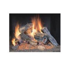 Gas Log Fireplace Pit Set No Ash No Wood Vented Burner Insert Natural Flame