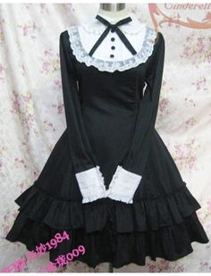 Long Sleeves Bow Cotton Lolita Dress