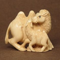 Mammoth Ivory Netsuke Mother  Baby Camel Carving N4589