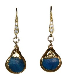 Blue Apatite Earrings with 24 Karat Gold and by IsabellaandMax, $82.00