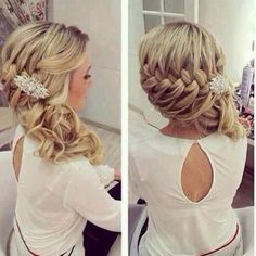 I don't have this much hair , but love the idea of curled hair braided to the side