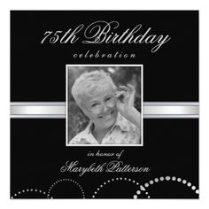 75th Birthday Party Photo Invitations Silver Black