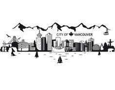 Fenstertattoo No.JS3 Vancouver Skyline Vancouver Skyline, Vancouver City, Vancouver Island, Skyline Painting, Skyline Art, Vancouver Tattoo, Canada Tattoo, Skyline Tattoo, City Drawing