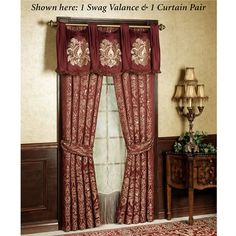 The polyester Palatial Swag Valance will give your room a royal appearance. Lined window valance has ruby swags with antique gold damask scroll embroidery on each. Edge has mingled brush fringe; back tabs are hidden behind cascade flaps. Valance Window Treatments, Custom Window Treatments, Window Coverings, Gold Comforter, Daybed Bedding, Daybed Sets, Daybed Covers, Custom Valances, Lined Curtains