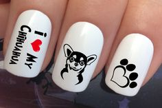 nail art set i love my chihuahua dog paw print water transfers decals stickers by Nailiciousuk on Etsy Pretty Nail Designs, Toe Nail Designs, Paw Print Nails, Unicorn Nail Art, Light Colored Nails, Nail Art For Kids, Water Nails, Stick On Nails, Nail Art Set