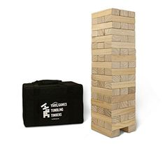 Yard Games Giant Tumbling Timbers with Carrying Case Starts at Tall and Builds to Over Made with Premium Pine Wood Outdoor Bridal Showers, Bridal Shower Games, Lawn Games, Backyard Games, Backyard Bbq, Patio, Timber For Sale, Stack Game, Giant Jenga
