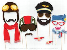 Airplane Party Photo Booth Props, Birthday Party Photobooth Props, Pilot…