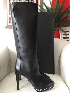 2014 CHANEL BLACK LEATHER CHAIN PLATFORM TALL BOOTS — Miami Lux Boutique Leather Chain, Leather Boots, Soft Leather, Black Leather, Tall Boots, Black Boots, Heeled Boots, Bootie Boots, Chanel Boots