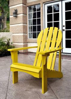 Captiva Rustic Lemon Yellow Cedarwood Adirondack Outdoor Chair