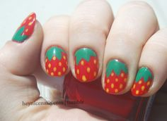 Strawberry nails! Reminds me of those little strawberry candies from when I was little (: