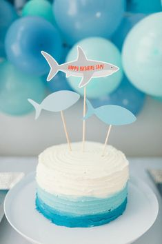 Printable Cake Topper – Shark Birthday Party Source by ashleykarenc First Birthday Cakes, 1st Boy Birthday, Boy Birthday Parties, Simple 1st Birthday Party Boy, Circus Birthday, Shark Birthday Cakes, Shark Birthday Ideas, Shark Cake, Shark Cupcakes