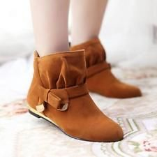 Vintage Women Bow Suede Flats Ankle Boot Lolita Girl Pull On Strap Shoes Plus SZ
