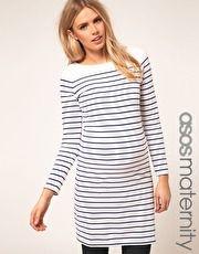 ASOS Maternity Exclusive Dress In Cotton Breton Stripe