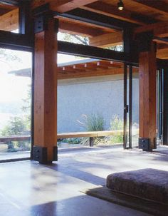 Industrial aesthetic with concrete floor, steel fixings and meaty columns in Island House by D'Arcy Jones. Wood Columns Porch, Steel Columns, Steel Beams, Wood Beams, Timber Architecture, Timber Buildings, Architecture Details, Veranda Pergola, Pole House