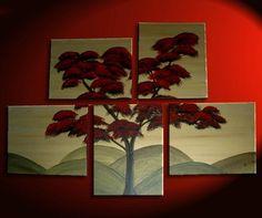 56x40 Large Custom Huge Tree Painting Original Asian Style Fall Tree
