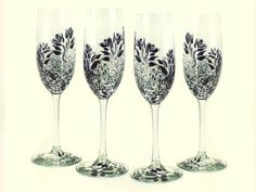 Bridesmaids' Champagne Glasses  Hand Painted by HandPaintedPetals
