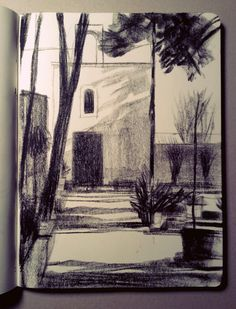 black charcoal sketch art off white beige paper sketchbook aesthetic scenery Kunst Inspo, Art Inspo, Art And Illustration, Drawing Sketches, Art Drawings, Sketch Art, Landscape Drawings, Landscape Sketch, Landscapes