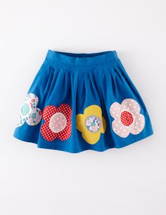 Appliqué Skirt by Mini Boden: Pleated waistband. full skirt, contrast colour lining. Embellished with hand-cut appiqués of flowers. #Sewing inspiration #SewforGirls