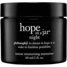 philosophy Hope In A Jar Night ($50) ❤ liked on Polyvore featuring beauty products, beauty, fillers, makeup, cosmetics, black and backgrounds