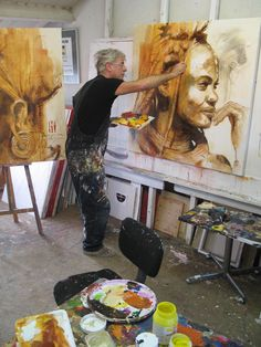 Hans Jochem Bakker (b. 1948) painting in his artist studio #workspace. hansjochem.com