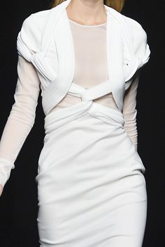 White dress with interlocking structure & elegant symmetry; artful fashion details // Givenchy Spring 2014