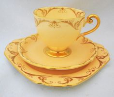 SHELLEY RIPON PEACHY GOLD Scroll TEA CUP AND SAUCER TRIO