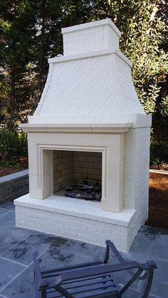 Cast stone fireplace - Price includes only mantel surround. Cast stone fireplace, can be made to any dimension, price is f - Outdoor Fireplace Patio, Patio Pergola, Outdoor Fireplace Designs, Backyard Patio, Outdoor Stone Fireplaces, Pergola Kits, Stone Patios, Stone Deck, Pergola Ideas