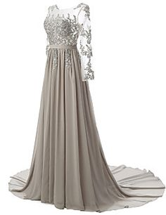 Formal Evening Dress A-line Scoop Court Train Chiffon / Lace with Appliques / Beading / Draping / Lace / Sash / Ribbon – EUR € 249.90