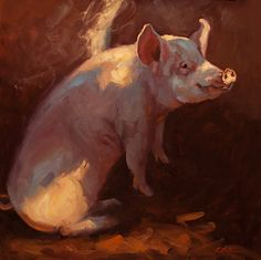Some Pig by Cheri Christensen Oil ~ 24 x 24