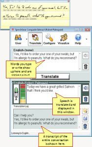 Features:  * Supports written, typed and spoken input.   *Spoken words are instantly transcribed and displayed.   *Written or typed words are instantly spoken.  * Available in multiple languages including American and British English, European and Latin American Spanish, European and Canadian French, Italian, German, Dutch, Arabic, plus many more…  *Purchase Interact-AS's language translation modules to directly communicate in foreign languages.