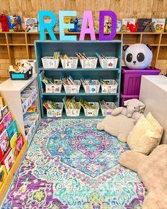 Preschool Library Center, Reading Corner Classroom, Kindergarten Library, Kindergarten Classroom Setup, Toddler Classroom, Special Education Classroom, Classroom Board, Future Classroom, Library Themes