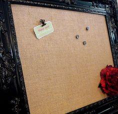"Black Memo Board Ornate Framed 28 x 34"" Ornate Black Baroque - Burlap, Magnetic Chalkboard Wedding Display Office"