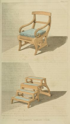 Metamorphic furniture: 1811 - Convertible Library Chair/Steps from Ackermann's Repository.