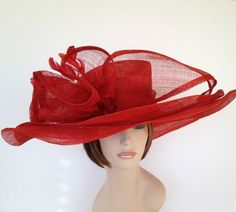 Women's red Dress Hats Kentucky Derby | New Church Kentucky Derby Sinamay Wide Brim Red Color Dress Hat ...