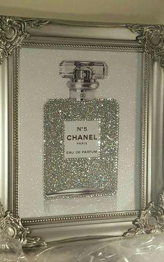 homedecor cheap nueva home 2019 Unique Shabby Chic Chanel Canvas Print Swarovski Crystals, Glitter. Shabby Chic Bedrooms, Shabby Chic Decor, Shabby Chic Vanity, Chanel Bedroom, Bling Bedroom, Glitter Bedroom, Chanel Decor, Glam Room, Chic Bathrooms