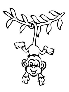 Smiling Hanging Monkey Coloring Pages Monkey Coloring Pages, Tree Coloring Page, Animal Coloring Pages, Coloring Book Pages, Coloring Pages For Kids, Easy Cartoon Drawings, Cartoon Drawing Tutorial, Easy Drawings, Monkey Drawing Easy