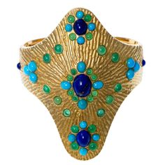 Boucheron Lapis Lazuli Turquoise Chrysoprase gold Cuff bracelet | From a unique collection of vintage cuff bracelets at https://www.1stdibs.com/jewelry/bracelets/cuff-bracelets/