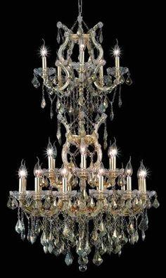 Maria Theresa Golden Teak Crystal Chandelier w 25 Lights in Gold ...