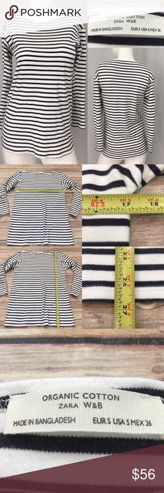 ⭐️Sm Zara Organic Cotton Striped Long Sleeve Top Measurements are in photos. Normal wash wear, slight fuzziness, no other flaws. A2/34  I do not comment to my buyers after purchases, due to their privacy. If you would like any reassurance after your purchase that I did receive your order, please feel free to comment on the listing and I will promptly respond.   I ship everyday and I always package safely. Thank you for shopping my closet! Zara Tops