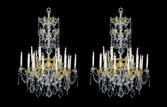 An Impressive Pair of Antique Louis XV Style Gilt-Bronze and Cut Glass Twenty Four Light Chandeliers, French, Circa 1900.