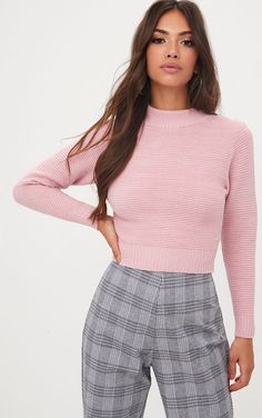 f7ef416d78 Pink Ribbed Cropped Knitted Jumper Ribbed Top