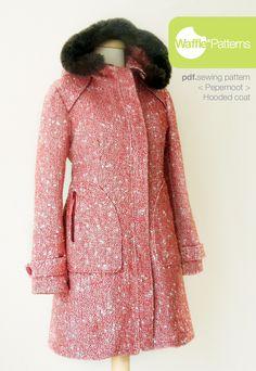 Mantel im Retro Look ideal zum Verarbeiten von Paspeln. Schnittmuster: Waffle Patterns sewing patterns Hooded Coat Pepernoot