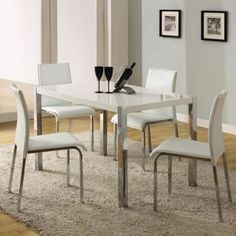 White Gloss Dining Table And 4 Chairs Set With Silver Legs Modern Home Furniture