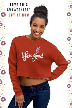 Life is good. Keep smiling and enjoying what it has to offer! Why not buying this crop sweatshirt to remind yourself of embracing positivity?  #lifeisgood #sweashirt #cropsweatshirt #CropTopSweatshirt #Sweatshirts #WomenHoodieCropped #CroppedTopwomen #SweatshirtWomen #CoppedSweatshirt #fleecesweatshirt #womenhoodiecropped #Croptopsweatshirt #womenclothing #casualwear #streetstyle #positivesweatshirt #positivity Best Sweatshirts For Women, Girls Sweaters, Cropped Sweater, Female Models, Casual Wear, Life Is Good, Positivity, Crop Tops, Hoodies