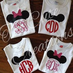 Fun! Girls Minnie Mouse Swirl Monogram Shirt by TooCuteCreations2007
